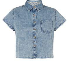 Teens Blue Acid Wash Crop Denim Shirt