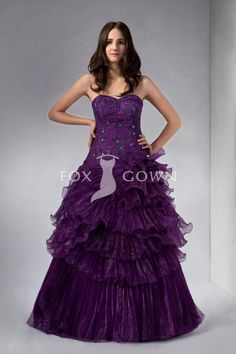 eggplant sweetheart a-line floor length evening dress with beaded bodice and ruffle tiered skirt