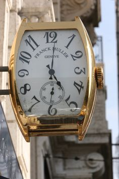 Storefront clock in Geneva, Switzerland - Oh, boy! I'm gonna get me a big ol' watch! Unusual Clocks, Cool Clocks, Rock Around The Clock, Somewhere In Time, Time Stood Still, Telling Time, Street Signs, Watches, Shop Signs