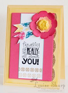 Louise Sharp: Really Good Greetings stamp set; Mosaic Madness stamp set; Simply Pressed Clay and Blossoms Clay Mold