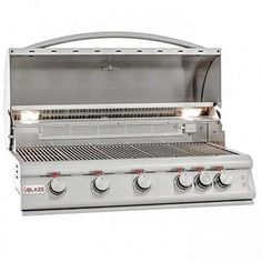 Blaze LTE Built-In Propane Gas Grill With Rear Infrared Burner & Grill Lights (Natural Gas - 5 or more Burners), Silver Built In Gas Grills, Built In Grill, Propane Gas Grill, Gas Bbq, Bbq Guys, Stainless Steel Grill, Outdoor Kitchen Design, Outdoor Kitchens, Outdoor Spaces