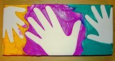 This Father's Day make a memorable work of art using hand prints from you & your children!