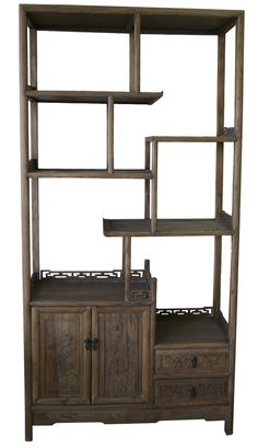 $790. Chinese Rustic Timber Bookcase. Swan Street