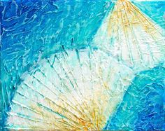 Seashells Caribbean Waters Blue Teal Original Acrylic Highly Textured Painting 8 x 10 inches on Canvas Ready to Hang