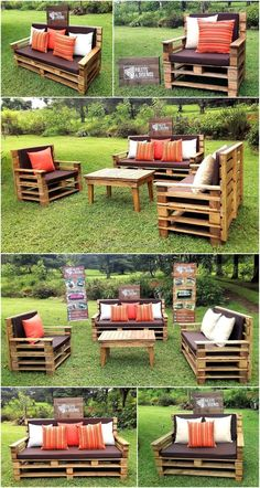 Recycled Wooden Pallet Patio Garden Sofa Set: Have a look at the garden sofa set here and you can inspire others with this amazing technique because there are Pallette Furniture, Pallet Patio Furniture, Outdoor Furniture Plans, Pallet Sofa, Outdoor Sofa, Outdoor Pallet, Wood Sofa, Wooden Pallet Projects, Pallet Ideas