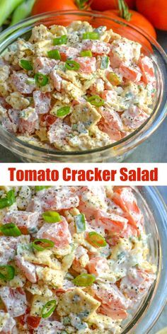 We re bring you another Southern staple today with this super yummy 4 ingredient Tomato Cracker Salad Garden fresh tomatoes crushed saltine crackers tangy green onions are mixed with a creamy mayonnaise dressing for the ultimate lunch snack or appetizer Soup And Salad, Pasta Salad, Food Salad, Salad Bar, Ham Salad, Appetizer Recipes, Dinner Recipes, Tomato Appetizers, Dessert Recipes