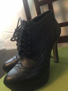 267211d4265 BCBG Generation Black Stiletto Granny Schoolgirl Tie Up Oxford High Heel Sz  7.5