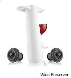 Wine Preserver - Vacu Vin Wine Saver Pump with 2 x Vacuum Bottle Stoppers - Black