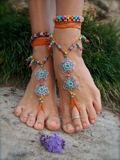 GYPSY summer BAREFOOT SANDALS sole less sandals beach wedding rainbow dance jewelry slave anklet foot jewelry bohemian shoes unique. $79.00, via Etsy.