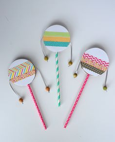 DIY Spin Drum for Kids Birthday Parties spin drum diy with washi tape DIY Spin Drum fo Drums For Kids, Instrument Craft, Percussion Instrument, Making Musical Instruments, Homemade Instruments, Drum Craft, Washi Tape Diy, Camping Crafts, Diy Camping