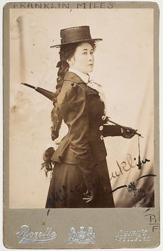Australian author Miles Franklin (1879 - 1954) who is best known for her book, My Brilliant Career, which was later made into a movie starring Judy Davis, ca. 1901.