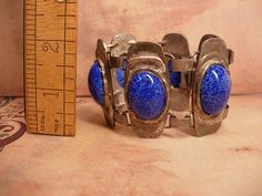 HUGE Lapis and silver Bracelet and solje brooch