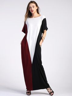 3ec61f1985 Color Block Full Length Dress With Pockets Long Kaftan, Casual Day Dresses,  Casual Wear