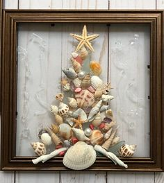 """Christmas Tree Resin Art SunCatcher!  This resin art frame isa perfect decoration for a holiday or for every day! Handmade in Florida, the design incorporates crushed shell/glass, sand and seashells and is bonded (not glued) to glass with resin and framed in an 8""""x8"""" lightweight plastic frame, easy"""