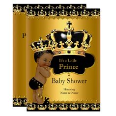 Baby Shower for Boy Royal Prince Baby Shower Black Gold Ethnic Card