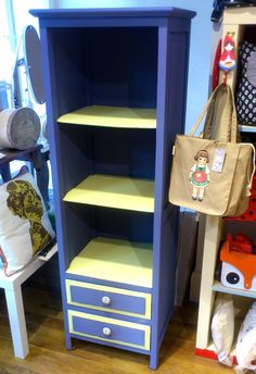A gorgeous new shelving unit I have painted for the shop, I have used Chalk paint™  by Annie Sloan in Old Violet and an English Yellow Mix