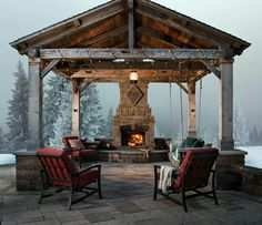 Outdoor fire place in winter
