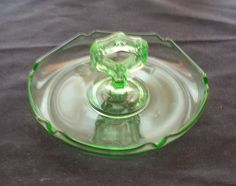 Green Depression Glass Center Handle Mint Dish