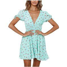 Semplice Abito da Casa Pigiama Camicia da Notte S-XL Camicia Lunga con Maniche Corte Scollo V Hawiton Donna Vestito Estivo