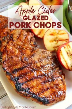 Apple Cider Pork Chops grilled to perfection! These sweet and savory glazed pork chops are perfect any time you're in the mood for meat! Cider Pork Chops, Glazed Pork Chops, Juicy Pork Chops, Apple Pork Chops, Glaze For Pork Chops, Grill Pork Chops, Porkchops On The Grill, Marinated Pork Chops Grilled, Pork Chop Marinade Baked