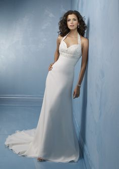 Bridal styles like this halter gown need a great strapless bra with a strap around the neck! -Linda the Bra Lady