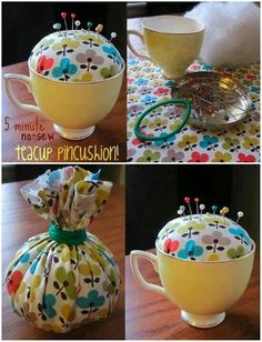 New Patchwork Easy Pin Cushions Ideas Fabric Crafts, Sewing Crafts, Sewing Projects, Crafts To Make, Easy Crafts, Easy Diy, Teacup Crafts, Sewing Accessories, Pin Cushions