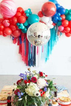 The table settings at this gorgeous modern Fourth of July are stunning! The balloon garland is incredible! See more party ideas and share yours at CatchMyParty.com 4th Of July Cake, 4th Of July Party, Fourth Of July, Balloon Garland, The Balloon, Balloons, Table Settings, The Incredibles, Decor