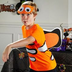 Make this easy DIY Halloween costume so your little ones can be everyone's favorite Clown Fish this Halloween