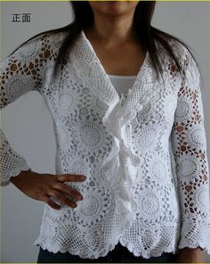 Mãos de Axé da Foroji: Blusa branca em croche feita de rodelinhas emendad...