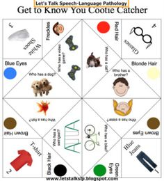 Let's Talk Speech-Language Pathology: Get to know you cootie catcher