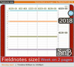 SnB FN - Vertical Week on 2 pages - Monday - 2017 / 2018 - Printable Weekly inserts for Traveler's Notebooks by MarsiaBramucci on Etsy