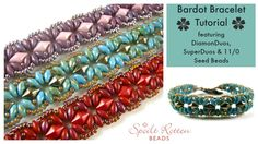 Free Two-Hole DiamonDuo  Bracelet Video--Bardot Bracelet Tutorial--Beads used two-hole DiamonDuo and Superduo and seed beads.