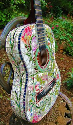Items similar to Mosaic Guitar . Rock and Roll, Shabby Chic, Vintage Floral, Garden Vines on Etsy Mosaic Art Projects, Mosaic Crafts, Mosaic Glass, Mosaic Tiles, Mosaics, Stained Glass, Pebble Mosaic, Glass Art, Easy Mosaic