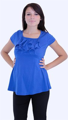 NWT SEXY PREGNANCY MATERNITY - Blue Ruffle Shirt Top Blouse PETITE Size S-M-L-XL cgi.ebay.com/... Maternity Wear, Maternity Tops, Maternity Fashion, Maternity Clothing, Modest Clothing, Maternity Style, Modest Skirts, Modest Outfits, Ruffle Shirt