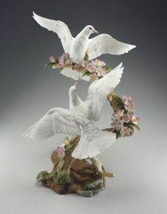 BOEHM PORCELAIN DOVES WITH APPLE BLOSSOMS - Madison Antiques and Gifts
