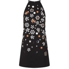 Victoria, Victoria Beckham Bricolage Embellished Shift Dress (€1.325) ❤ liked on Polyvore featuring dresses, high neck shift dress, shift dress, embellished cocktail dress, high neck dress and sequin cocktail dresses