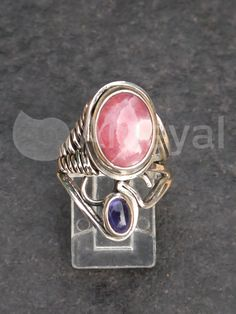 Friendship - Silver ring with Rhodochrosite from Argentina and Amethyst from Brasil