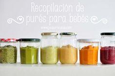 Purés para bebés. Con esta recopilación de purés para bebés tendréis en un único sitio varias opciones para variar la alimentación de los bebés.