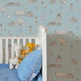 Katie Bourne Cluck A Doodle Farm - Light Blue Kids Wallpaper (In stock)