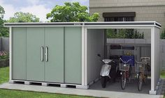 エルモコンビ 駐輪スペース付き物置 Garage Doors, Shed, Outdoor Structures, Outdoor Decor, House, Home Decor, Lean To Shed, Home, Haus