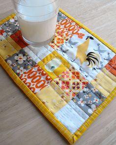 a scrappy mug rug by Angela - Fussy Cut, via Flickr