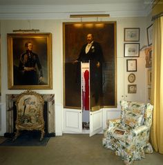 A large portrait of King Edward VII by Archibald Stuart Wortley cleverly disguises a pair of built-in wardrobe doors in the State Bedroom ~ ...