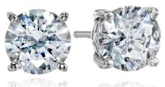 PlatinumPlated Sterling Silver Swarovski Zirconia 3 cttw Round Stud Earrings *** See this great product. Note: It's an affiliate link to Amazon.