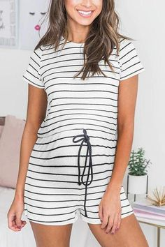 The maternity round collar striped rope drawing casual jumpers is a good choice of fashion in summer. Maternity Jumpsuit, Casual Jumpsuit, Rope Drawing, Stem Challenge, Jumper Patterns, Stripes Fashion, Stripe Print, Going Out, Short Sleeve Dresses