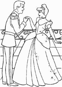 Princesas Disney: dibujos para colorear - Cenicienta y el príncipe