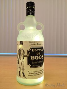 """This post is about a """"Bottle of Boos"""" I created for Halloween. This post covers how to drill the hole, frost the glass, and install the lights. Potion Bottle, Vodka Bottle, Bottle Lights, Halloween Crafts, Bottles, Diy, Bricolage, Do It Yourself, Homemade"""