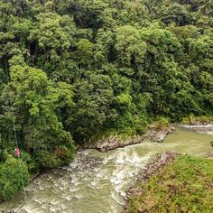 Ziplining over the Pacuare River! Can you see me?? (Im the pink dot)  There is never a dull moment in Costa Rica, there is always something crazy fun to do! Thanks to @riostropicales for an awesome two days white water rafting, ziplining and canyoning! :s