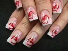 White french with red and pink hearts