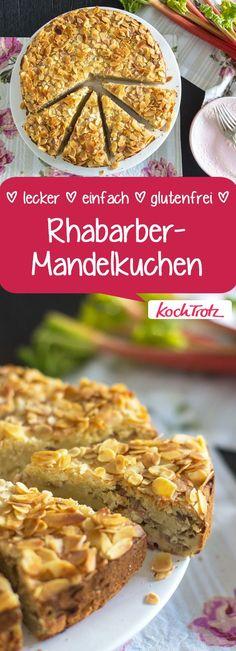 Lieblingskuchen: saftiger, einfacher Rhabarber-Mandelkuchen #zuckerfrei #glutenfrei #eifrei #hefefrei #backen #rezept #rhabarber #kuchen