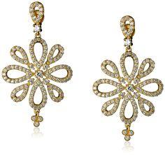 Amazon.com: Freida Rothman Open Pave Floral Drop Earrings: Clothing